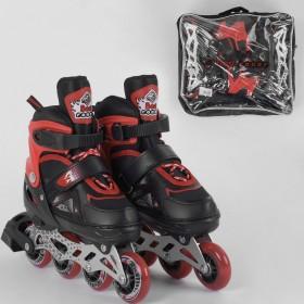 Раздвижные роликовые коньки (Ролики) Best Roller S 8211 (размер 30-33, S) колеса PU, светящееся, черно-красные