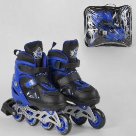 Раздвижные роликовые коньки (Ролики) Best Roller S 9566 (размер 30-33, S) колеса PU, светящееся, черно-синие