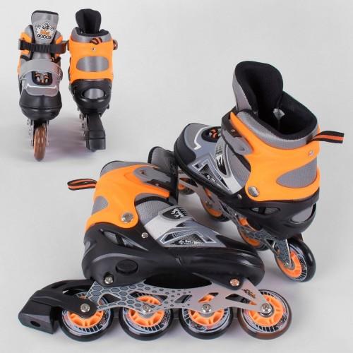 Розсувні роликові ковзани (Ролики) Best Roller М 5977 (розмір 34-37, М) колеса PU, підсвітка колес, сіро-помаранчеві