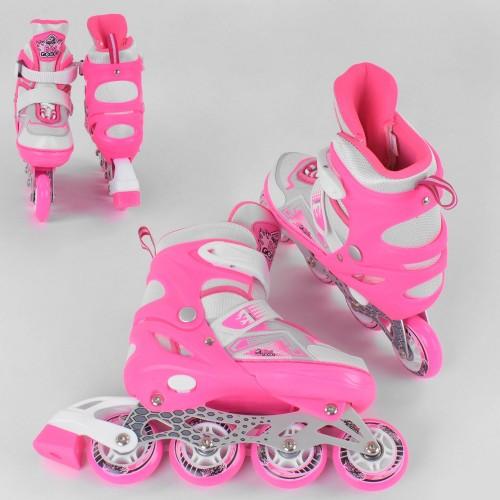 Розсувні роликові ковзани (Ролики) Best Roller S 7005 (розмір 30-33, S) колеса PU, підсвітка колес, рожеві