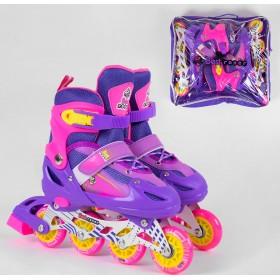 Раздвижные роликовые коньки Best Rollers NEW S 10002 (30-33, S) светящиеся колеса PVC, фиолетовые
