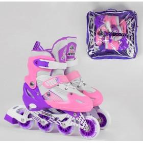 Раздвижные роликовые коньки Best Rollers NEW S 30010 (30-33, S) светящиеся колеса PVC, бело-розовые