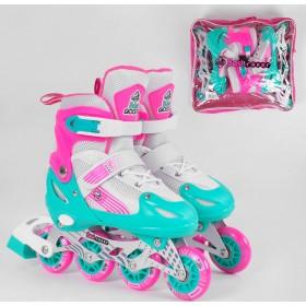 Раздвижные роликовые коньки Best Rollers NEW S 60035 (30-33, S) светящиеся колеса PVC, розово-бирюзовые