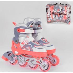 Раздвижные роликовые коньки Best Rollers NEW S 5401 (30-33, S) светящиеся колеса PU,  коралловые