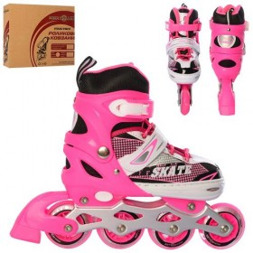Раздвижные роликовые коньки PROFI A 4123-S (31-34, S) розовые