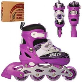 Раздвижные роликовые коньки PROFI A 4123-S (31-34, S) фиолетовые