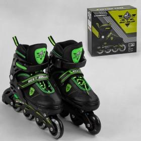 Розсувні роликові ковзани (Ролики) Best Roller 30039 (розмір 39-42, L) колеса PU з підсвіткою, чорно-зелені