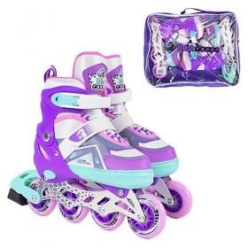 Раздвижные роликовые коньки Best Rollers NEW М 2165 (34-37, М) светящиеся колеса PU,  фиолетовые