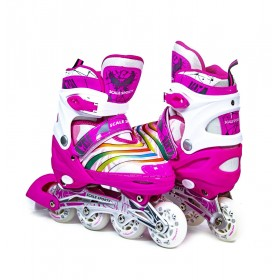 Раздвижные роликовые коньки ScaleSport LF 907M 29-33, розовые