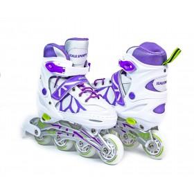 Раздвижные роликовые коньки ScaleSport LF 601A 29-33, бело-фиолетовые