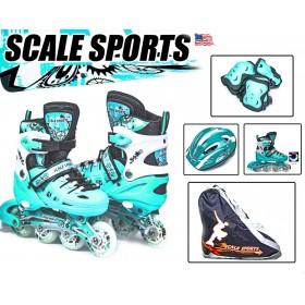 Раздвижные роликовые коньки Scale Sport 29-33, мятные (шлем и защита в комплекте)