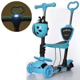 Самокат-беговел 5 в 1 Itrike JR 3-026-L-BL, с родительской ручкой, фонариком, божьей коровкой, голубой