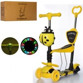 Самокат-беговел 5 в 1 Itrike JR 3-026-L-Y, с родительской ручкой, фонариком, божьей коровкой, желтый