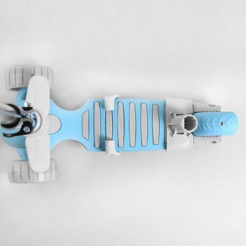 Cамокат трехколесный Best Scooter Smart 5 в 1, с бортиком, светящимися колесами, корзинкой, голубой