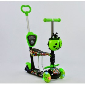 Трехколесный самокат Best Scooter 5 в 1 Ladybag print 97630 салатовый