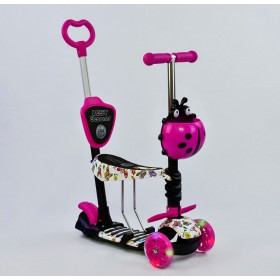 Трехколесный самокат Best Scooter 5 в 1 Ladybag print 58420 розовый