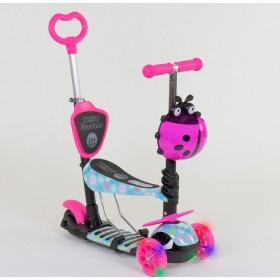 Трехколесный самокат Best Scooter 5 в 1 Ladybag print 11210 розовый