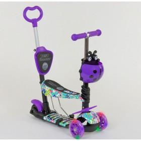 Трехколесный самокат Best Scooter 5 в 1 Ladybag print 68995 фиолетовый