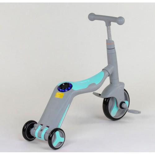 Самокат - беговел - велосипед Best Scooter JT 3 в 1, трансформер, с подсветкой, 8 мелодий, серо-бирюзовый