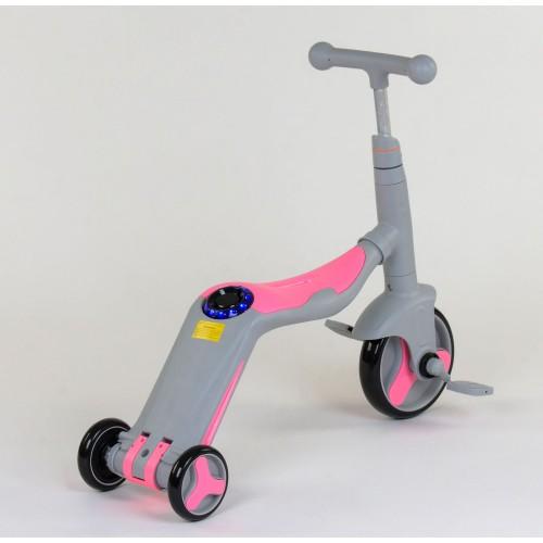 Самокат - беговел - велосипед Best Scooter JT 3 в 1, трансформер, с подсветкой, 8 мелодий, серо-розовый