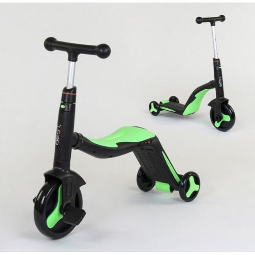 Самокат - беговел - велосипед Best Scooter JT 3 в 1, трансформер, с подсветкой, 8 мелодий Черно-зеленый