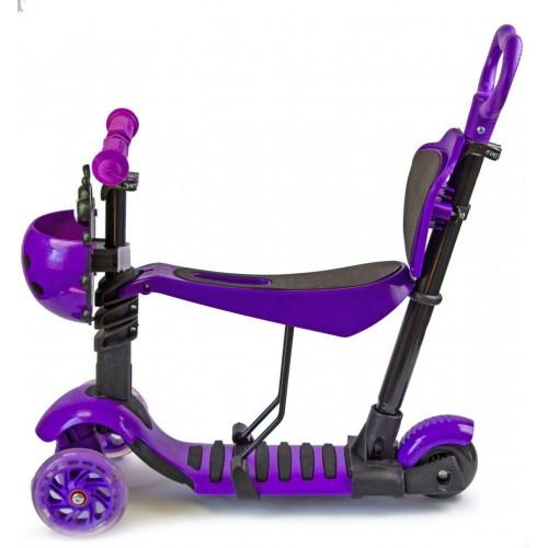 Трехколесный самокат-беговел Scooter 5в1 Божья коровка фиолетовый