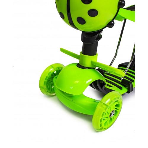Трехколесный самокат-беговел Scooter 5в1 Божья коровка зеленый