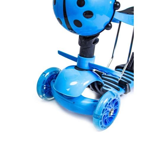 Трехколесный самокат-беговел Scooter 5в1 Божья коровка голубой