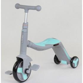 Самокат-велобег Best Scooter 3в1 JT 10181, с педалями, музыкальный, серо-голубой