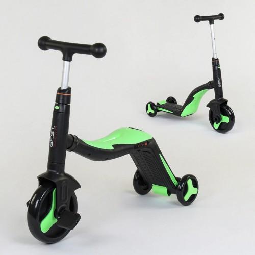 Самокат-велобег Best Scooter 3в1 JT 40405, с педалями, музыкальный, черно-зеленый