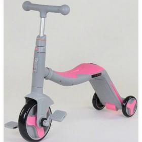 Самокат-велобег Best Scooter 3в1 JT 90601, с педалями, музыкальный, серо-розовый