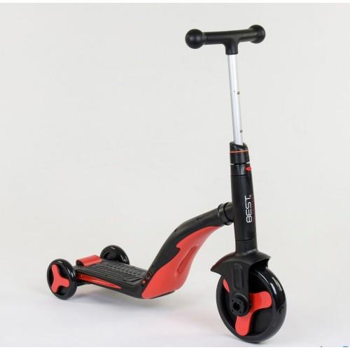 Самокат - беговел - велосипед Best Scooter JT 3 в 1, трансформер, с подсветкой, 8 мелодий, красный