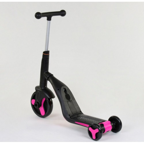 Самокат - беговел - велосипед Best Scooter JT 3 в 1, трансформер, с подсветкой, 8 мелодий, розовый