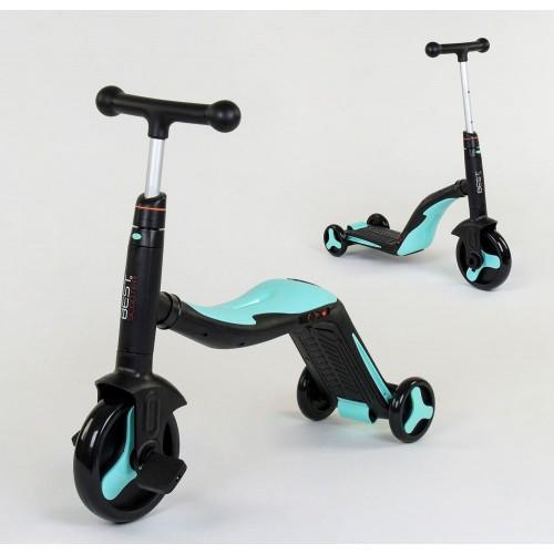 Самокат-велобег Best Scooter 3в1 JT 20255, с педалями, музыкальный, черно-бирюзовый