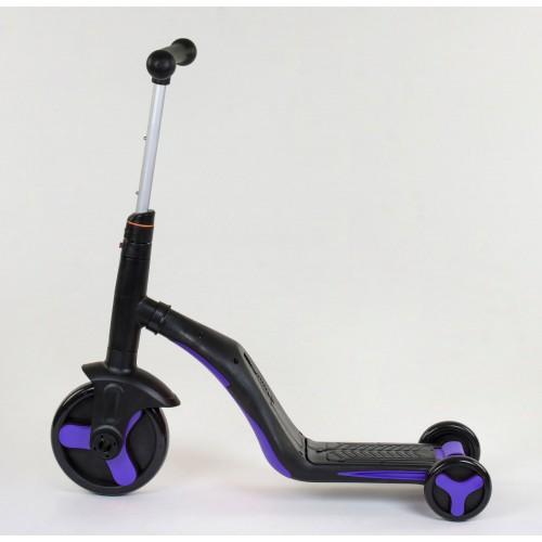 Самокат - беговел - велосипед Best Scooter JT 3 в 1, трансформер, с подсветкой, 8 мелодий, фиолетовый