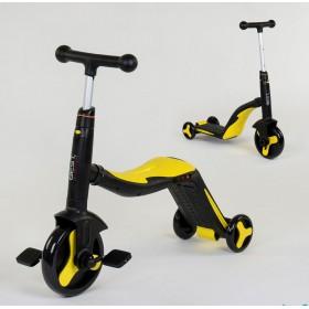 Самокат - беговел - велосипед Best Scooter JT 3 в 1, трансформер, с подсветкой, 8 мелодий, желтый