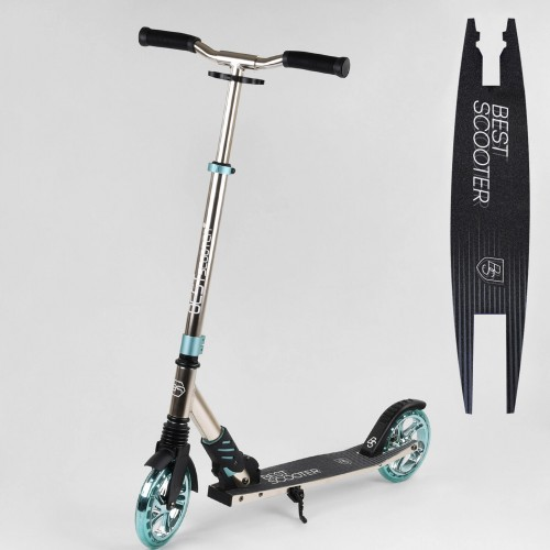 Самокат двухколесный алюминиевый Best Scooter с амортизатором, системой складывания, анодированная покраска, 10133, голубой