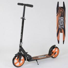 Самокат двухколесный Best Scooter 18144, черно-оранжевый