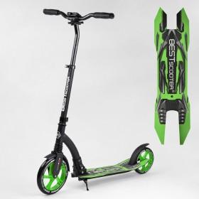 Самокат двухколесный Best Scooter, 1 амортизатор, зажим руля, 52266, зеленый