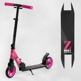 Двоколісний самокат Best Scooter 85886, 1 амортизатор, колеса 145 мм, чорно-рожевий