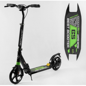 Двухколесный самокат Best scooter urban sport, дисковый тормоз, черно-зеленый