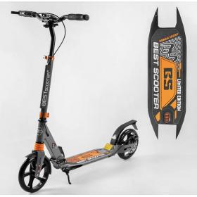 Двухколесный самокат Best scooter urban sport, дисковый тормоз, черно-оранжевый