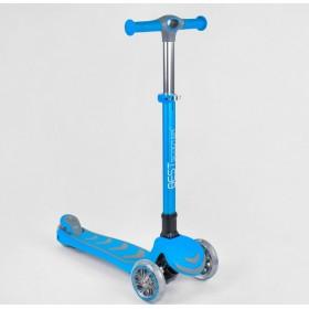 Трехколесный самокат Best Scooter 38603 прорезиненная платформа, усиленный, складной голубой