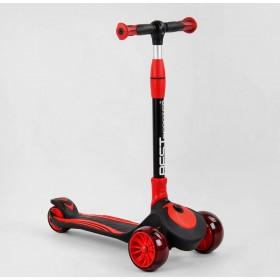Самокат триколісний Best Scooter C01618, посилений, складаний, з колесами, що світяться, червоний