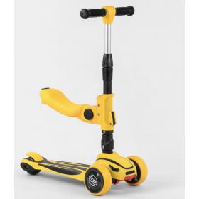 Самокат-беговел Best Scooter с сидением ST-16801, складной алюминиевый руль, желтый