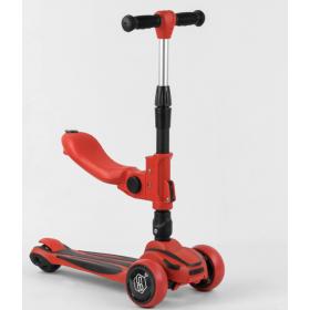 Самокат-беговел Best Scooter с сидением ST-18003, складной алюминиевый руль, красный