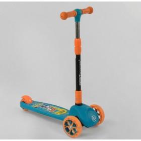 Трехколесный самокат Best Scooter подсветка колес и дисков 45567, голубой