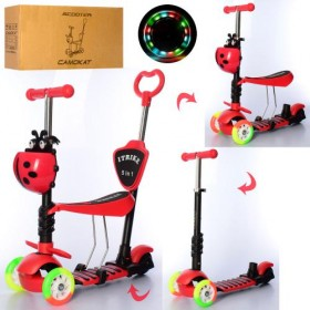 Самокат-беговел 5 в 1 Itrike JR 3-026-C-R, с цветными колесами,родительской ручкой, божьей коровкой, красный