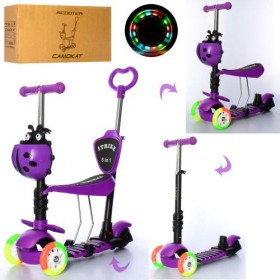 Самокат-беговел 5 в 1 Itrike JR 3-026-C-V, с цветными колесами,родительской ручкой, божьей коровкой, фиолетовый