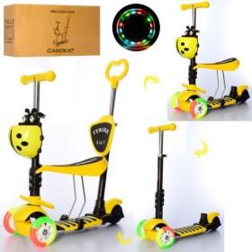 Самокат-беговел 5 в 1 Itrike JR 3-026-C-Y, с цветными колесами, родительской ручкой, божьей коровкой, желтый
